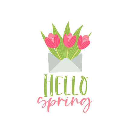 Bouquet of spring flowers in the envelope. Vector hello srping greeting card