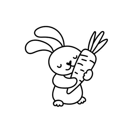 Hand drawn cute doodle easter bunny character