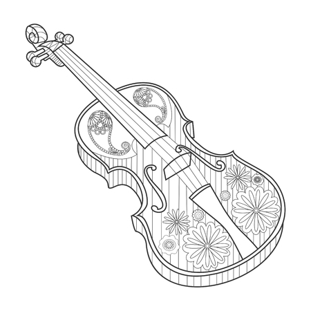 Coloring for adults violin vector illustration. Anti-stress coloring book for adults. Zentangle style. Иллюстрация