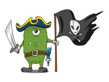 drapeau pirate: espace Pirate dessin animé vecteur vert monstre illustration. Drapeau pirate. Jolly Roger.
