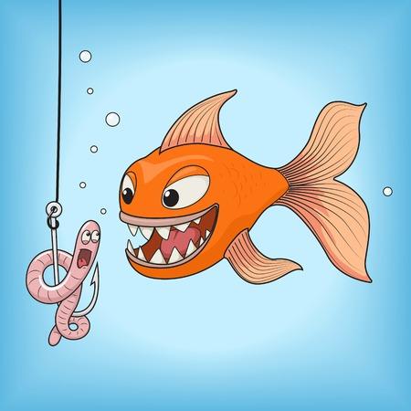 gusano caricatura: Dibujos animados caza de peces de color naranja en una ilustración de color rosa gusano vector. Diversión, pesca, gancho bajo el agua.
