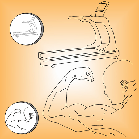Black and white muscular athlete and treadmill vector illustration Illustration