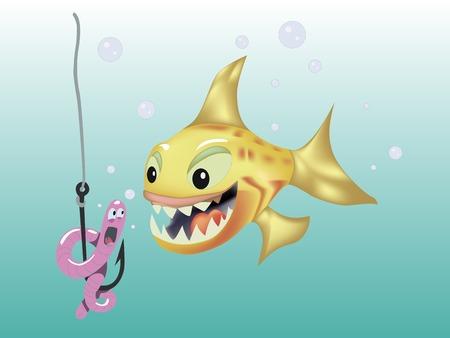 Cartoon orange fish hunts on a pink worm vector illustration. Fun, fishing, hook underwater.