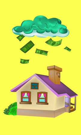 foreclosure: On the roof of the house fall green money with clouds vector illustration