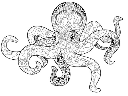 Octopus sea animal coloring book for adults vector illustration.