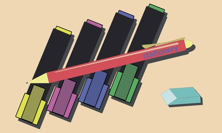 markers: Colorful markers hand drawn simple vector illustration Illustration