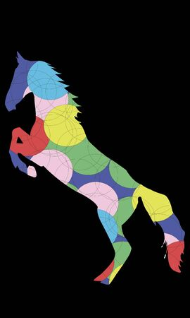 stand up: Colored horse silhouette stand up vector illustration Illustration