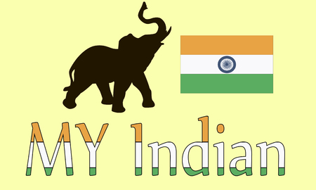 Subjects Indian elephant and the national flag vector illustration Illustration