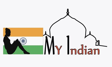 Subjects India Taj Mahal, the girl with the book and the state flag vector illustration