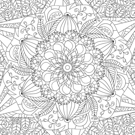 cartoon adult: Mandala coloring book for adults vector illustration.