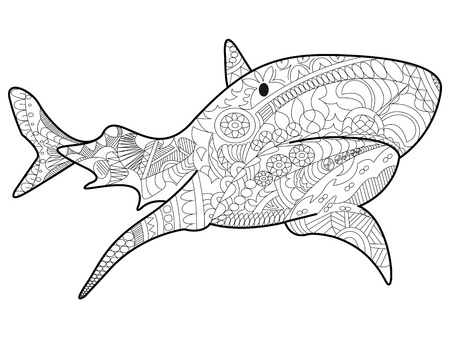 Shark sea animal coloring book for adults vector illustration. Çizim