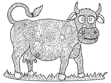 Cow Coloring animale adulto illustrazione vettoriale.