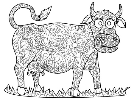 Cow Coloring pet adult vector illustration.