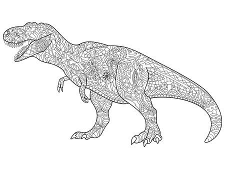 tyrannosaur: Tyrannosaurus coloring predator for adult vector illustration. Illustration