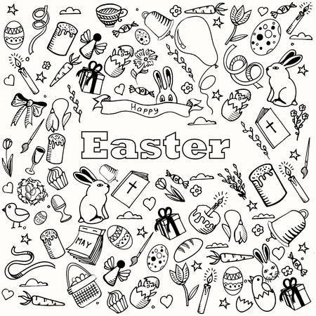 ribbon background: Easter coloring book line art design vector illustration. Colored design elements. Separate objects