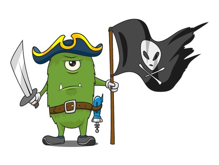 looting: Pirate space green cartoon monster vector illustration. Pirate flag. Jolly Roger. Illustration