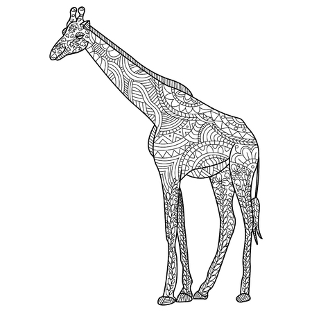 adults: Giraffe coloring book for adults vector illustration.