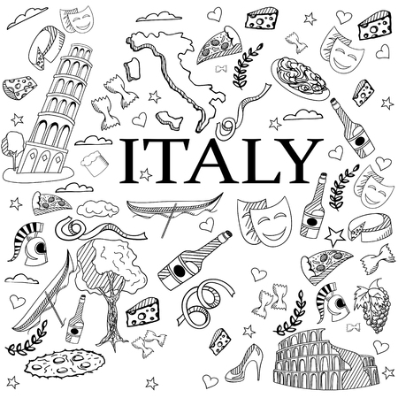 italian tradition: Italy coloring book line art design vector illustration. Separate objects. Hand drawn doodle design elements.