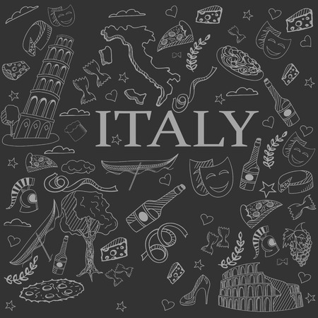 italian tradition: Italy chalk line art design vector illustration. Separate objects. Hand drawn doodle design elements. Illustration