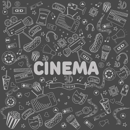 chalk line: Cinema chalk line art design vector illustration. Separate objects. Hand drawn doodle design elements.