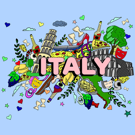 italian tradition: Italy line art design vector illustration. Separate objects. Hand drawn doodle design elements.