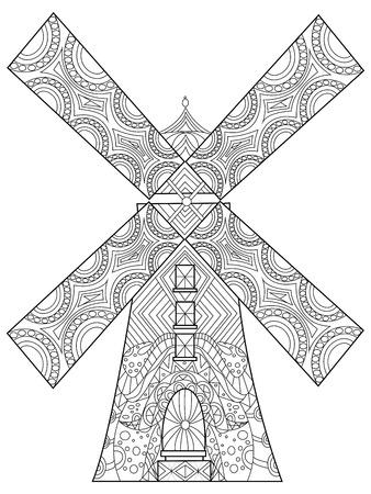 Windmill kleurboek voor volwassenen vector illustratie. Anti-stress-kleuring voor volwassen. Zentanglestijl. Zwart en witte lijnen. kantpatroon