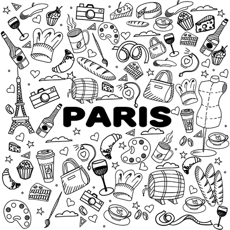 bonjour: Paris coloring book line art design vector illustration. Separate objects. Hand drawn doodle design elements.