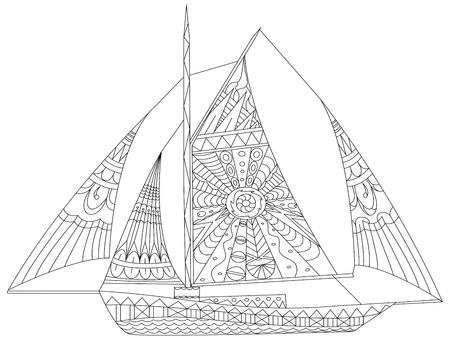 Barco de vela para colorear para los adultos ilustración vectorial. Antiestrés colorear para adultos. estilo de Zentangle. líneas blancas y negras. modelo del cordón