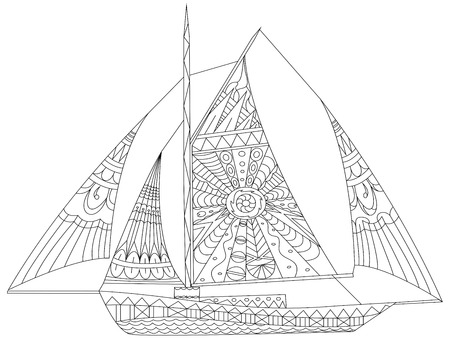 Sailing boat coloring book for adults vector illustration. Anti-stress coloring for adult. Zentangle style. Black and white lines. Lace pattern
