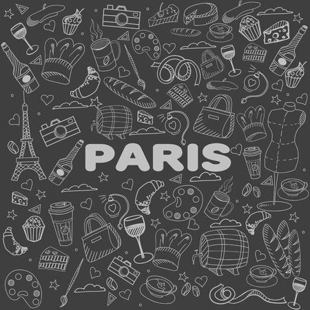 chalk line: Paris chalk line art design vector illustration. Separate objects. Hand drawn doodle design elements. Illustration