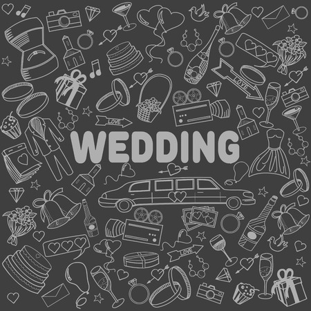 chalk line: Wedding chalk line art design vector illustration. Separate objects. Hand drawn doodle design elements.