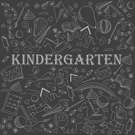 chalk line: Kindergarten chalk line art design vector illustration. Separate objects. Hand drawn doodle design elements.