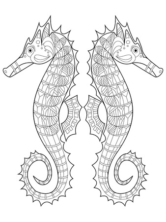 caballo de mar: caballito de mar para colorear para los adultos ilustraci�n vectorial. Antiestr�s colorear para adultos. estilo de Zentangle. l�neas blancas y negras. modelo del cord�n