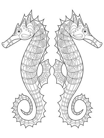 Zeepaardje kleurboek voor volwassenen vector illustratie. Anti-stress-kleuring voor volwassen. Zentanglestijl. Zwart en witte lijnen. kantpatroon Vector Illustratie
