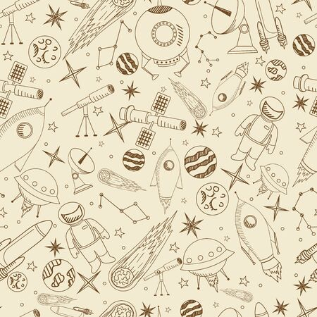 Space seamless line art design vector illustration. Separate objects. Hand drawn doodle design elements.