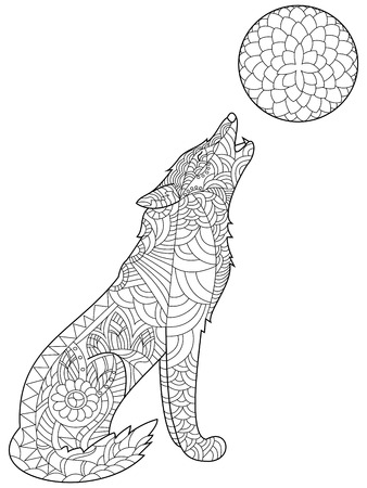 wolves: Wolf coloring book for adults vector illustration. Anti-stress coloring for adult. Zentangle style. Black and white lines. Lace pattern