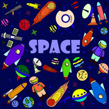 Space line art design vector illustration. Separate objects. Hand drawn doodle design elements.