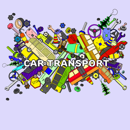 versatile: Car transport line art design vector illustration. Separate objects. Hand drawn doodle design elements.