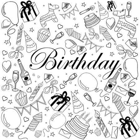 Birthday coloring book line art design vector illustration. Separate objects. Hand drawn doodle design elements. Ilustracja