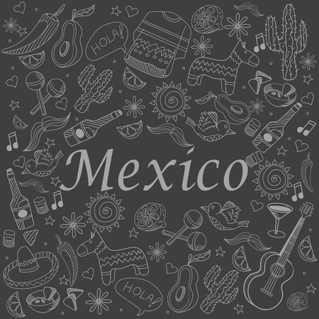 latinoamerica: Mexico chalk line art design vector illustration. Separate objects. Hand drawn doodle design elements.