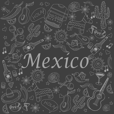 enchiladas: Mexico chalk line art design vector illustration. Separate objects. Hand drawn doodle design elements.
