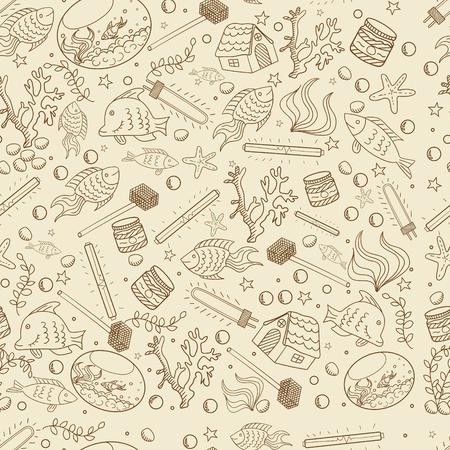 guppies: Aquarium seamless retro line art design vector illustration. Separate objects. Hand drawn doodle design elements.