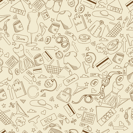 Shopping seamless retro line art design vector illustration. Separate objects. Hand drawn doodle design elements.
