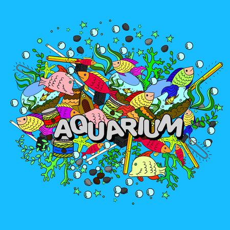 morse: Aquarium line art design vector illustration. Separate objects. Hand drawn doodle design elements.