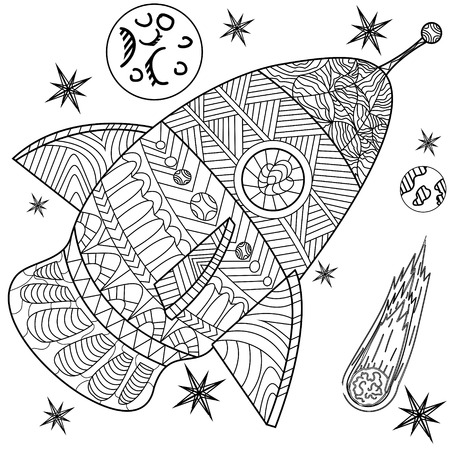 Space coloring book line art design vector illustration. Separate objects. Hand drawn doodle design elements.