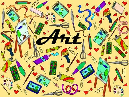 Stationery shop coloring book line art design vector illustration. At separate objects. Hand drawn doodle design elements. Vektorové ilustrace