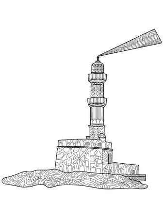 beacon: Lighthouse coloring for adults flying machine vector illustration. Beacon anti-stress coloring for adults. Screed zentangle style. Seamark black and white lines. lace