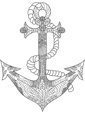 Anchor coloring book for adults vector illustration. Anti-stress coloring for adult. Zentangle style. Black and white lines. Lace pattern Çizim