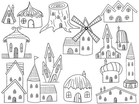 habitation: House coloring book line art design vector illustration. Housing separate objects. Habitation hand drawn doodle design elements.