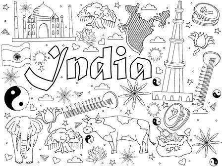 Inde Coloriage livre ligne art design vector illustration. Objets séparés. Éléments de conception doodle dessinés à la main.